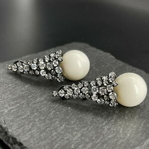 Vintage Black Rhodium 925 Sterling Silver Cocktail Earrings Zirconia White Balls