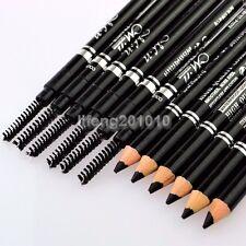 12pcs Black 2IN1 eyebrow pencil with eyelash brush Makeup Cosmetic Tool Eye Brow