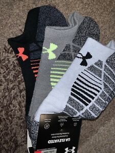 New Under Armour No Show Invisibles Elevated+ Cushioned Socks 3 Pk Mens 8-12