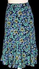 NWT John Paul Richard Women's L Sheer Blue Floral Lined Flare Hem Side Zip Skirt