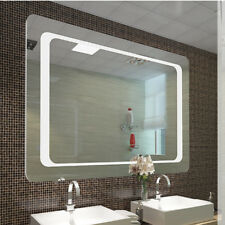 Mains Powered Bathroom LED Mirror White Light Illuminated Sensor Demister 800mm