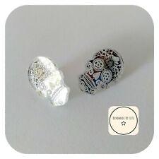 Mirror Sugar Skull Stud Earrings ⭐ 25mm ✨Small ☠️ silver Halloween