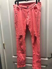 Arizona Jeans Super Skinny Neon Orange Distressed Jeans Pants Size 9
