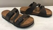 Women's Brown Faux Leather Strap Slide Sandals Size 6 Cork Outwoods Bork-56