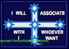"""I WILL ASSOCIATE ..."" - cleaner version - EUREKA FLAG BIKER PATCH"