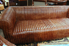 "100"" Sofa Vintage cigar brown soft Italian leather beautiful and modern texture"