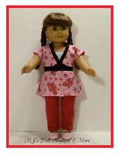 Pink Roses Print Top & Leggings Set American Girl Doll