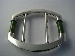 MID-CENTURY MODERN STERLING SILVER BELT BUCKLE w/ JADE Women's Belt Buckle Rare