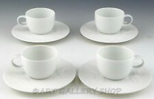 Rosenthal Bjorn Wiinblad MAGIC FLUTE WHITE DEMITASSE CUPS AND SAUCERS Set 4 Mint