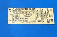 1970 MICHIGAN STATE VS ILLINOIS COLLEGE BASKETBALL FULL TICKET JENISON FIELD H