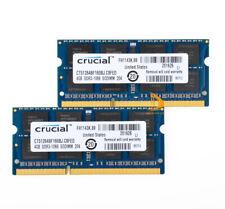 Crucial 2x 4 Go 2rx8 Pc3-8500s Ddr3 1066mhz SODIMM Mémoire ordinateur portable #