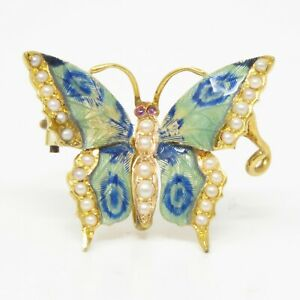 NYJEWEL 18k Yellow Gold Ruby Seed Pearl Enamel Butterfly Pin Brooch 25 x 21mm