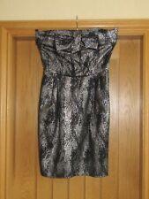 Untold black silver lurex strapless short cocktail party dress Size 8 vgc lined