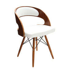 Premier Housewares Walnut Veneer and Leather Effect Occasional Chair White