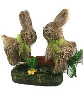 Sisal Bunny Rabbits on Carrot Seesaw ~ Easter Spring Tabletop Decor ~ Over 9�
