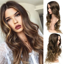 Womens Chic Long Curly Brown Ombre Wig Synthetic Hair Wigs Natural Full Hair Wig
