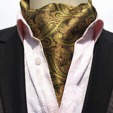 Men Gold Coffee Paisley Vintage Cravat Scarves Ascot Flower Wedding Ties LJA06