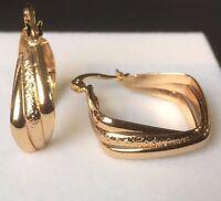 W30 Real 18k gold filled diamond shaped hoop earrings 28mm x 8mm BOXED Plum UK
