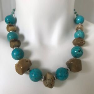 Handmade Necklace of Large Brown Coral Nuggets & Round Turquoise Magnesite Beads