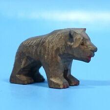 "1.5"" Antique Swiss Black Forest Wood Hunt Carving BEAR CUB c1900 Brienz"