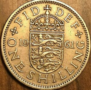 Circulated 1961 English Shilling Coin//Great Britain Coins for collectors