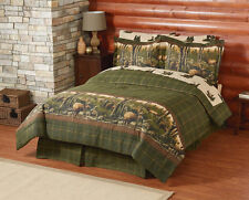 Mountain Home Cabin Lodge Hunting Elk Twin Comforter Set (6 Piece Bed In A Bag)