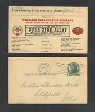 1940 Wheeling Corrugating Co Dura-Zinc-Alloy Advertising Postal Card Ux27