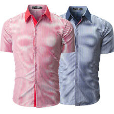 Mens Shirts Luxury Casual Short Sleeve Button Down Slim Fit Striped Shirts