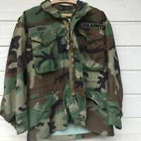Woodland Camouflage Fatigues Jacket VTG Mens Cold Weather Field Coat Small Short