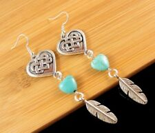1 Pair of Turquoise Heart Gemstone Dangle Earrings with Metal Feathers #951
