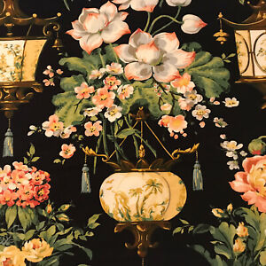 """Black Chinoiserie Floral Fabric Sample 26"""" X 23"""""""