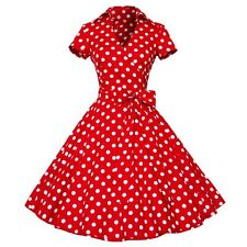 Women Polka Dot Swing 1950s Retro Housewife Pinup Vintage Rockabilly Party Dress