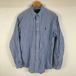 Ralph Lauren Mens Button Up Shirt Medium Blue Striped Long Sleeve Collared