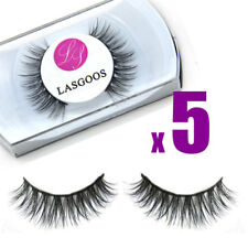 LASGOOS 5 x Real Mink Hair Crossed False Eyelashes Eye Full Strips Lashes#009