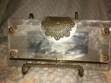 Vintage Lucite Mother Of Pearl Clutch Purse