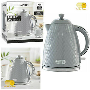 NEW 3KW Grey Daewoo Argyle 1.7L Kettle Removable Limescale Filter LED Indicator