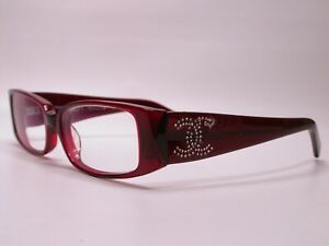 Authentic Chanel Diamonds Red Clear Luxury Eyeglasses Frames Made in Italy