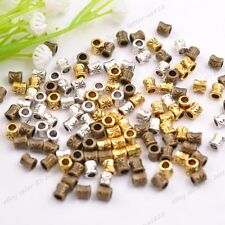 100Pcs Tibetan Silver Tube Charm Spacer Beads Jewelry Findings 4x3mm B3044