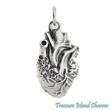 Anatomical Human Heart 3D .925 Solid Sterling Silver Charm Pendant Heavy