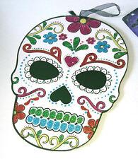 DAY OF THE DEAD Glitter SKULL HANGING SIGN Painted MDF PLAQUE Dia de Los Muertos