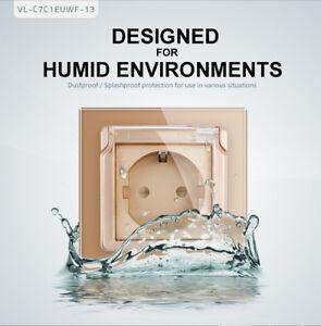 LIVOLO Steckdose Glas Schutzkontakt Aufputz  für Feuchtraum mit deckel Gold,CE