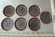 L.E. Mason Co. Boston, Mass Set of 7 Vintage Copper Coasters Gothic Letter L