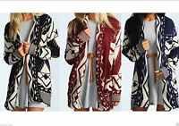 A72 New Womens Ladies Long Sleeve Hip Length Aztec Print Top Cardigan Sizes S-XL