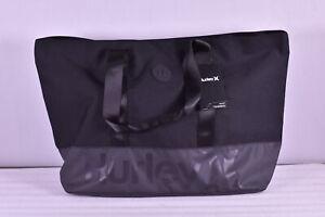Hurley Solana II Beach Tote Bag, Black / Dark Grey Stripes