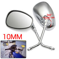 10mm Motorcycle  Rearview Side Mirror Long Stem Chrome For Honda Suzuki  /