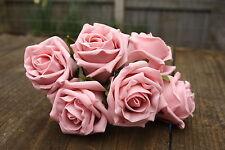 6 x PERLA estremamente Pallido Baby Rosa Shimmer tridimensionale Schiuma Open Cottage Roses 6cm