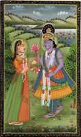 Krishna Radha Ethnic Painting Handmade Indian Hindu Folk Religion Miniature Art