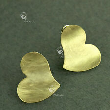 18k yellow gold plated heart love brush plate classic earrings simple