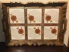 VINTAGE RETRO TILE AND WOODEN HANDCRAFTED SCULPTED RUSTIC SERVING TRAY