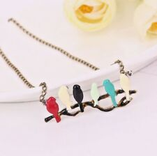 """Birds on a Branch Necklace Bronze Women's 30""""L Chain Sweater Turtleneck USA"""